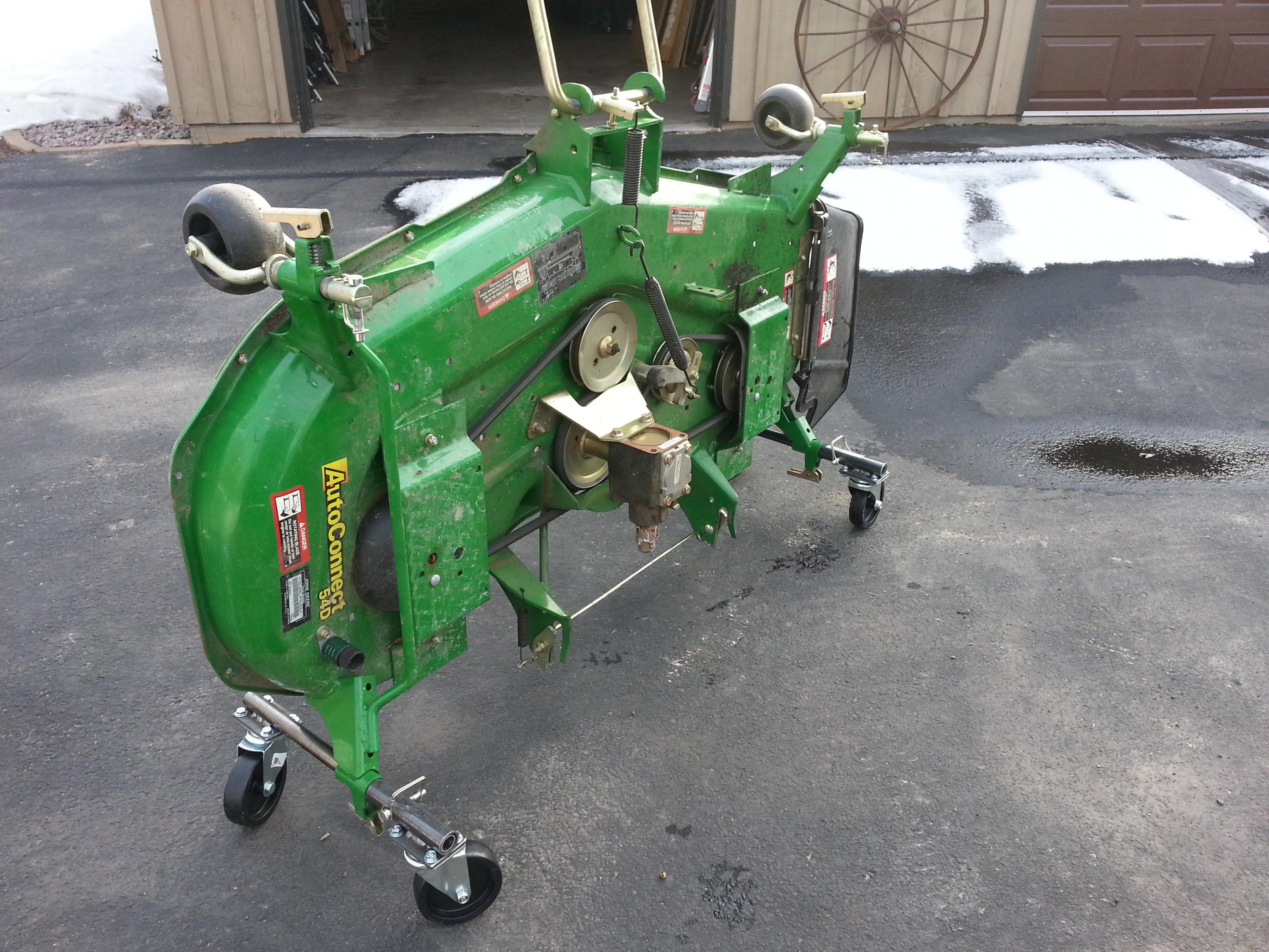Garden Tractor Work Stand : Diy mower deck moving storage wheels