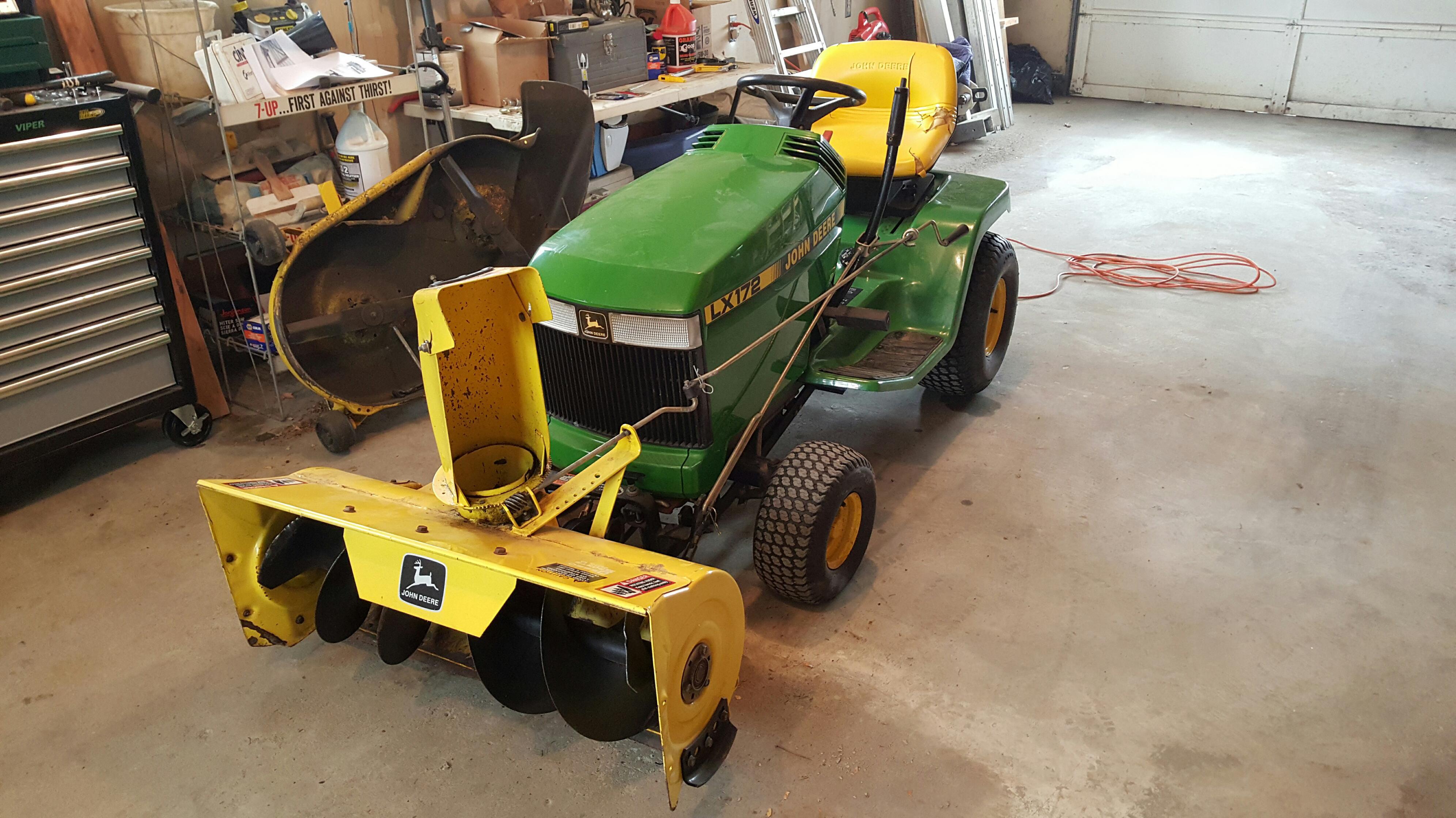 John Deere 172 Lawn Tractor : John deere lx snow blower not blowing out chute