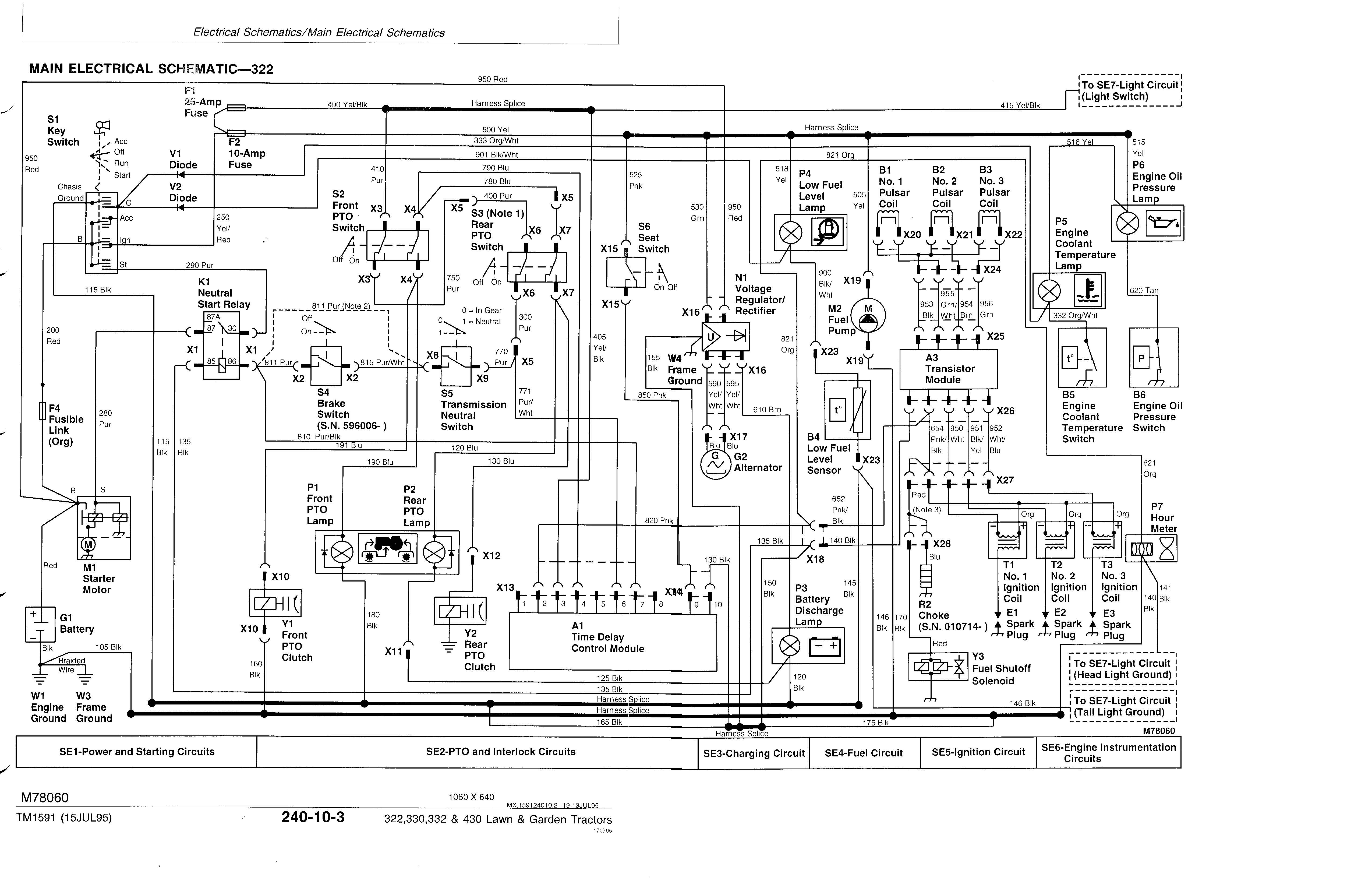John Deere 332 PTO short circuit