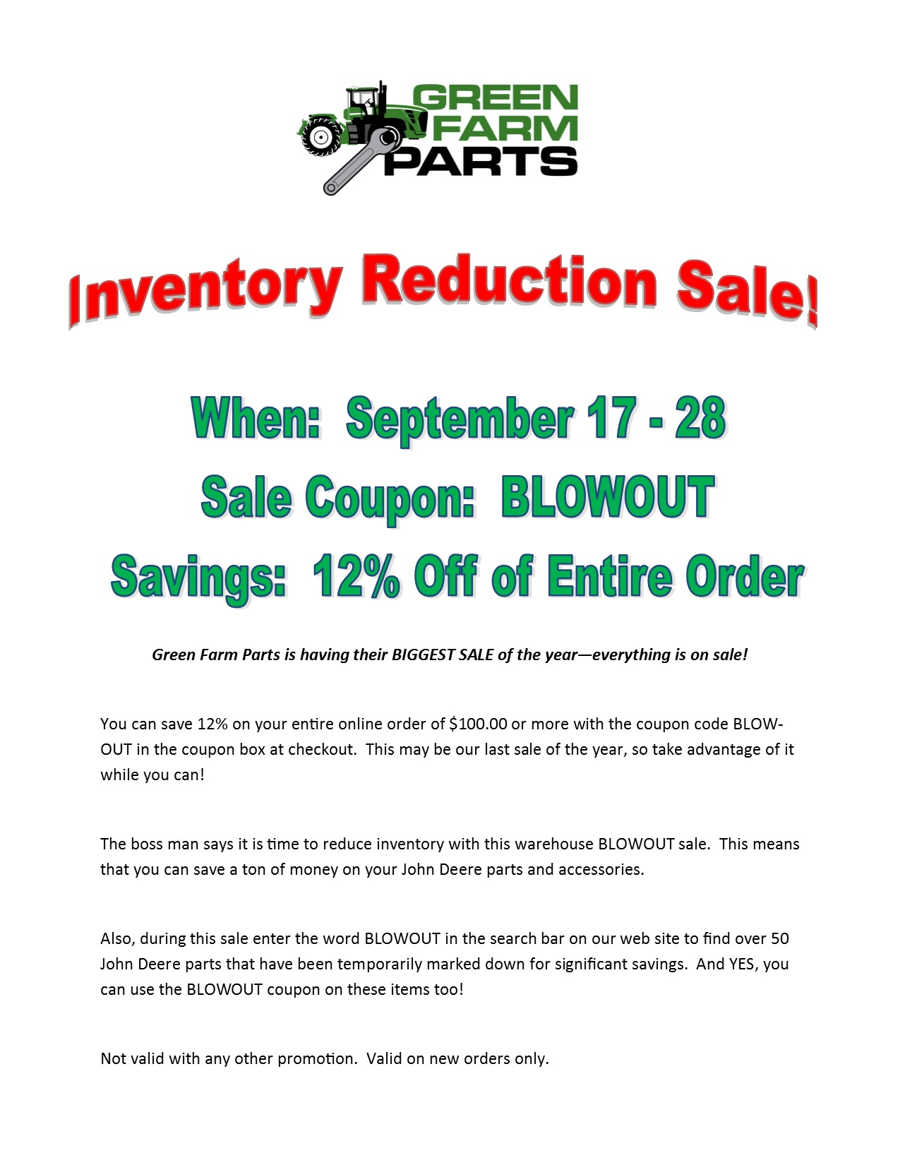 Click image for larger version.  Name:Green Farm Parts Sale Flyer jpg.jpg Views:46 Size:258.4 KB ID:32847