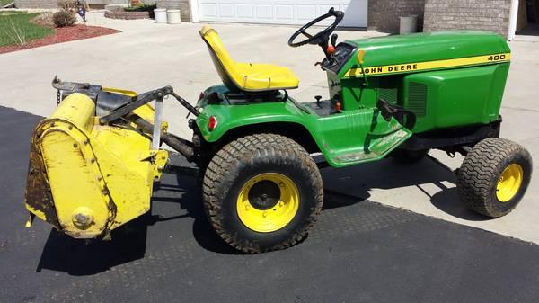 John Deere 400 Garden Tractor Attachments : John deere loader tiller blower mower