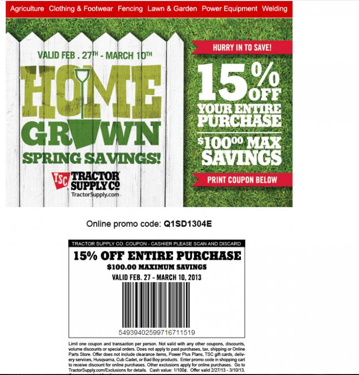 Tractor supply coupon codes